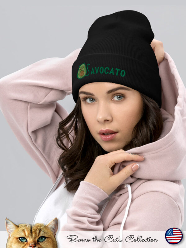 Avocato | Embroidered Beanie | Black