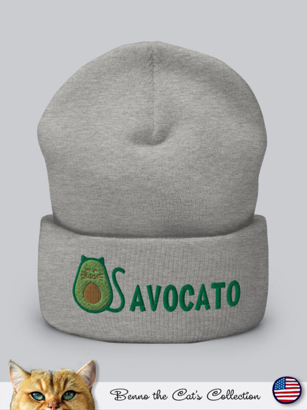 Avocato | Embroidered Beanie | Heather Grey