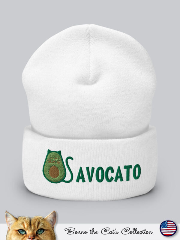 Avocato | Embroidered Beanie | White