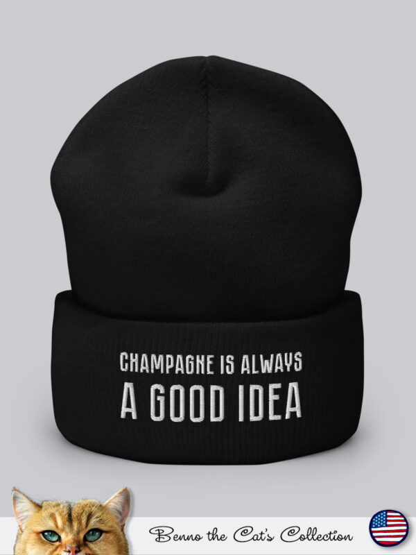 Champagne is always a Good Idea | Embroidered Beanie | Black