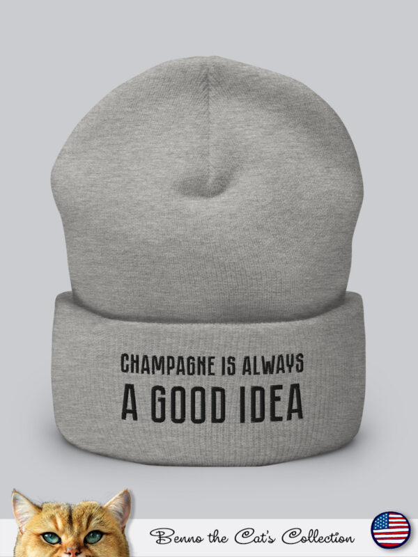 Champagne is always a Good Idea | Embroidered Beanie | Heather Grey