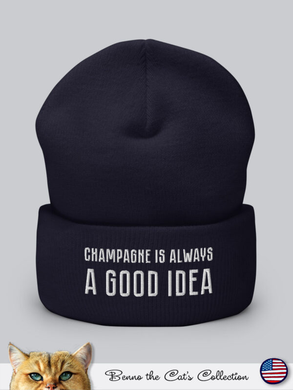 Champagne is always a Good Idea | Embroidered Beanie | Navy
