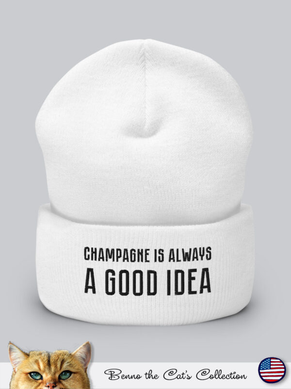 Champagne is always a Good Idea | Embroidered Beanie | White