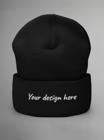 Personalized Cuffed Beanie Yupoong 1501KC | Black
