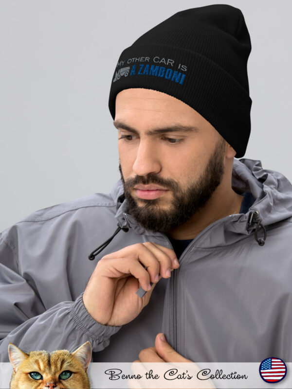 My other car is a ZAMBONI | Embroidered Beanie | Black