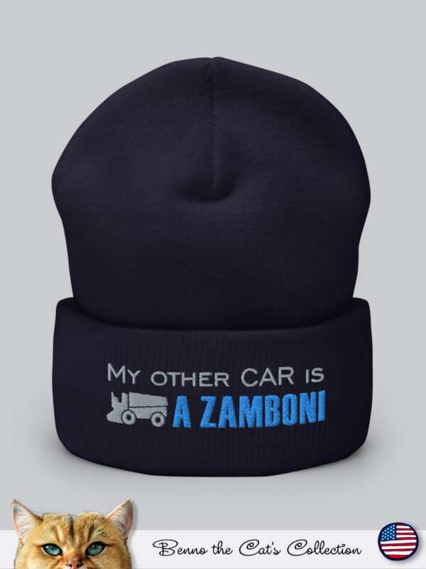My other car is a ZAMBONI | Embroidered Beanie | Navy
