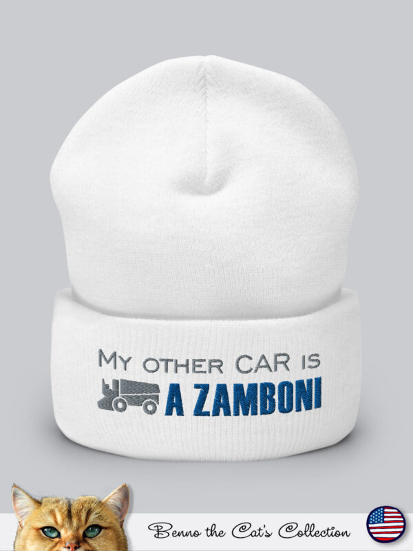 My other car is a ZAMBONI | Embroidered Beanie | White