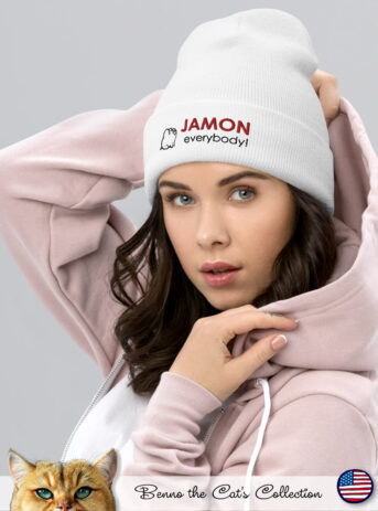 Jamon everybody! | Embroidered Beanie | White